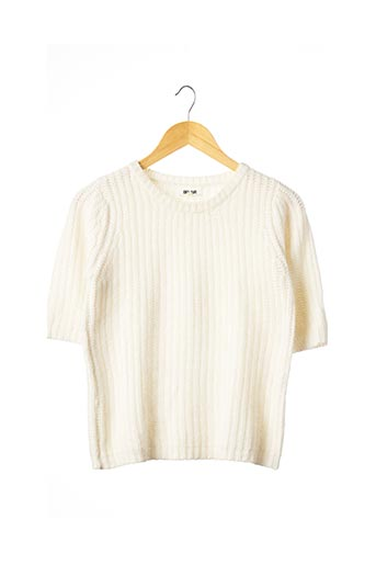 Pull col rond blanc BEL AIR pour femme