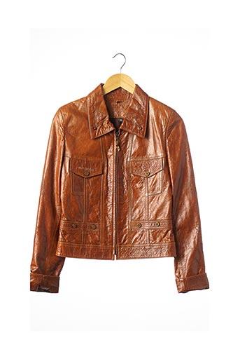 Veste en cuir marron JUST CAVALLI pour femme