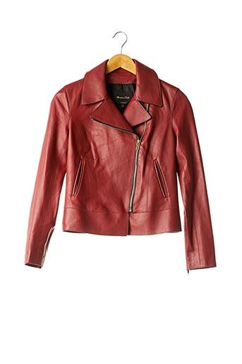 Veste en cuir rouge MASSIMO DUTTI pour femme