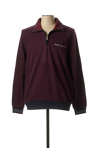 Pull col cheminée rouge MONTE CARLO pour homme
