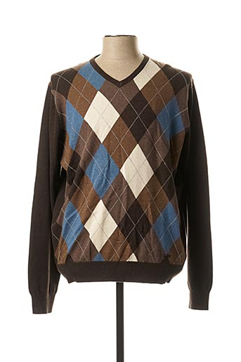 Pull col V marron FYNCH-HATTON pour homme