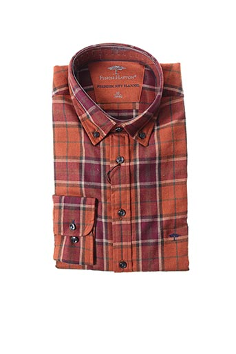 Chemise manches longues marron FYNCH-HATTON pour homme