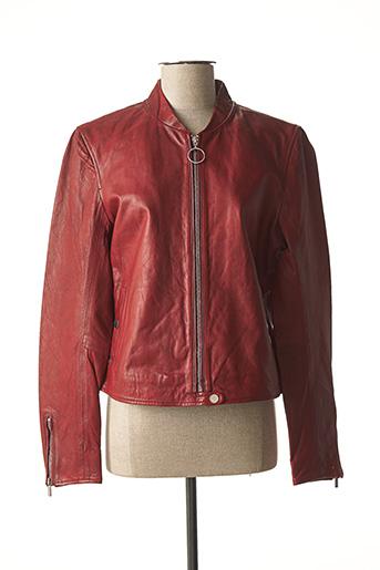 Veste en cuir rouge ROSE GARDEN pour femme