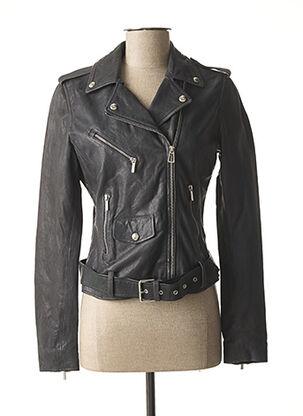 Veste en cuir gris ROSE GARDEN pour femme