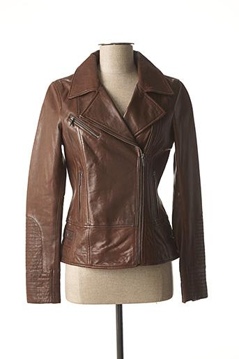 Veste en cuir marron ROSE GARDEN pour homme