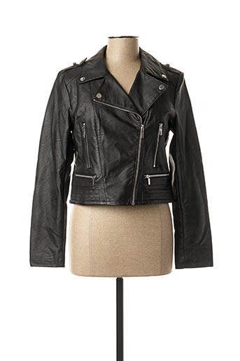 Veste simili cuir noir MORGAN pour femme