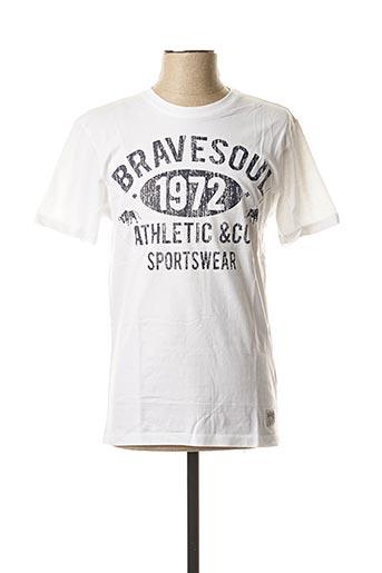T-shirt manches courtes blanc BRAVE SOUL pour homme