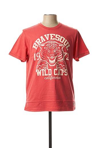 T-shirt manches courtes rouge BRAVE SOUL pour homme