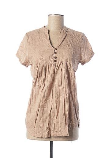 Tunique manches courtes beige TOO KATAI pour femme
