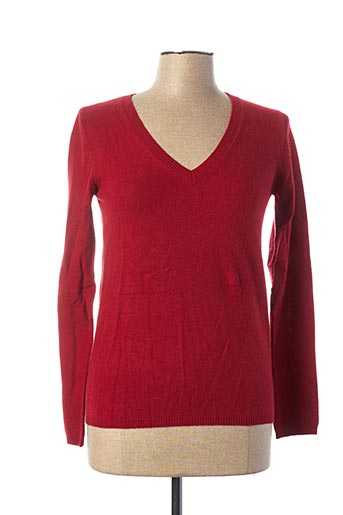 Pull col V rouge ABSOLUT CASHMERE pour femme