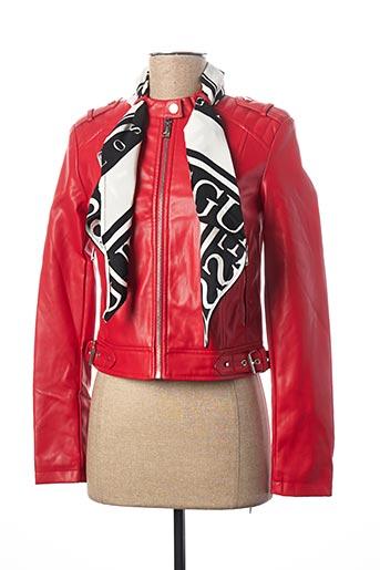 Veste simili cuir rouge GUESS pour femme