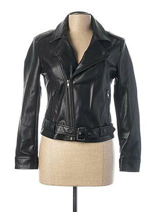 Veste simili cuir noir SISLEY pour femme