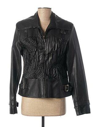 Veste simili cuir noir PAUL BRIAL pour femme