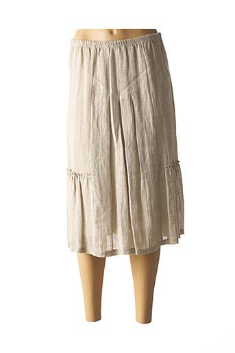 Jupe mi-longue beige SAINT CHARLES pour femme