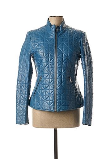 Veste en cuir bleu ROSE GARDEN pour femme