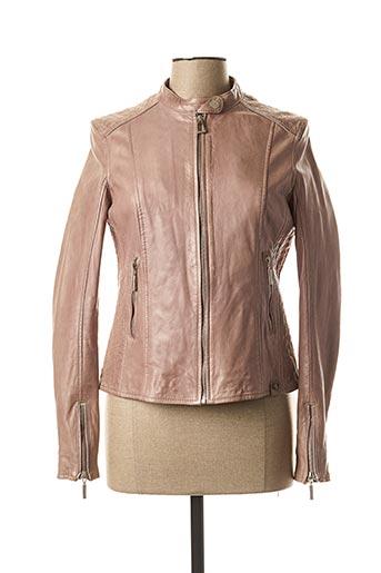 Veste en cuir rose ROSE GARDEN pour femme