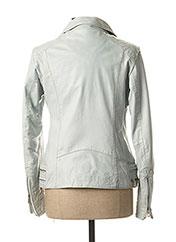 Veste en cuir bleu ROSE GARDEN pour femme seconde vue