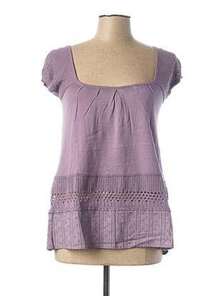 Pull col carré violet 2 TWO pour femme