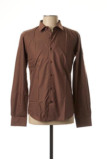 Chemise manches longues marron CANOTTI COUTURE pour homme