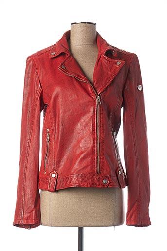 Veste en cuir orange GIPSY BY MAURITIUS pour femme