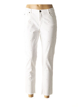 Jeans coupe slim blanc MENSI COLLEZIONE pour femme