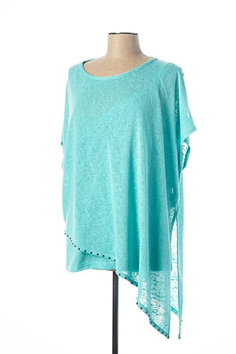 Pull col rond bleu MARBLE pour femme