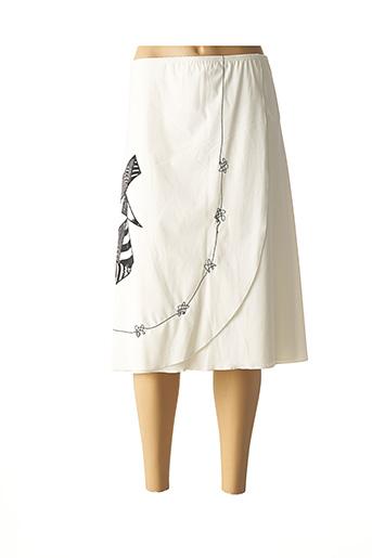 Jupe mi-longue beige JEAN DELFIN pour femme