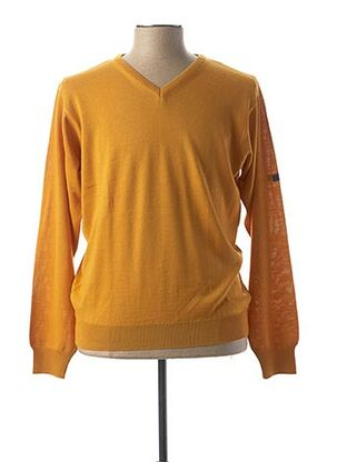 Pull col V jaune MONTE CARLO pour homme