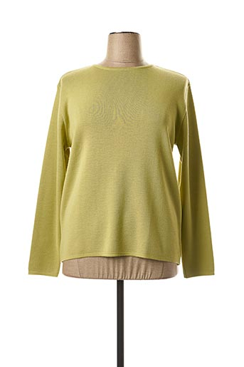 Pull col rond vert FIL & MAILLE pour femme