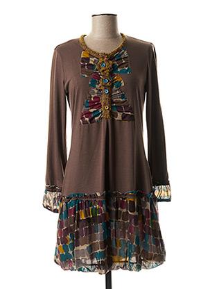 Robe courte marron O.K.S pour femme