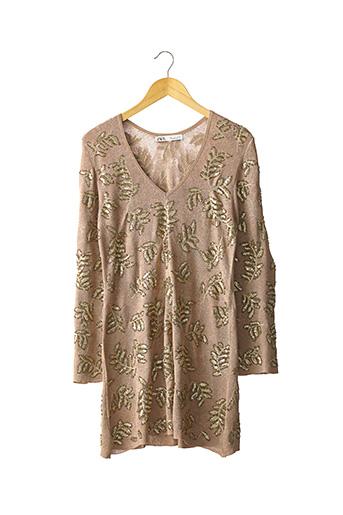 Robe pull beige ZARA pour femme