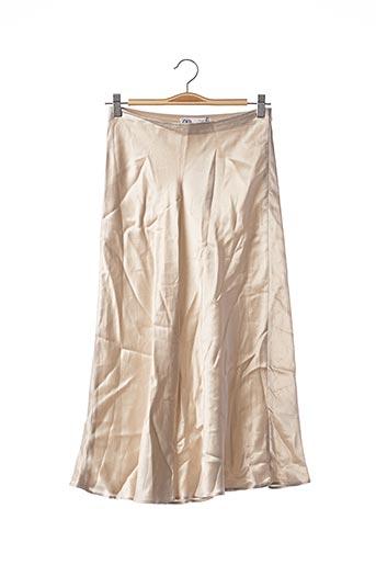 Jupe longue beige ZARA pour femme