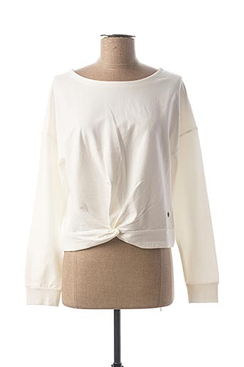 Pull col rond blanc BECKARO pour fille