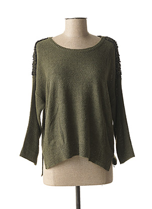 Pull col rond vert LA FEE MARABOUTEE pour femme