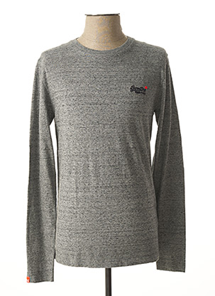 Pull col rond gris SUPERDRY pour homme