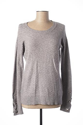Pull col rond gris LOU LOU BY NALO pour femme