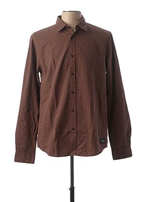 Chemise manches longues marron SCOTCH & SODA pour homme