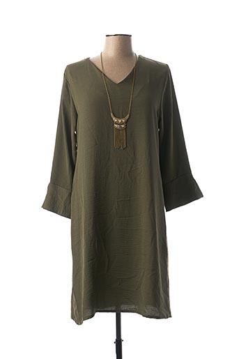 Robe mi-longue vert LA FEE MARABOUTEE pour femme