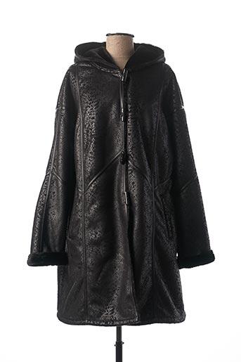 Manteau long noir EL INTERNATIONALE pour femme
