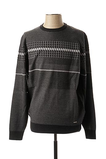 Pull col rond gris BUGATTI pour homme