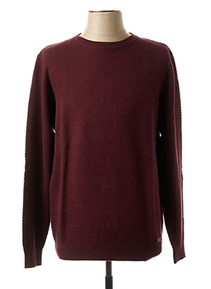 Pull col rond rouge PETER COFOX pour homme