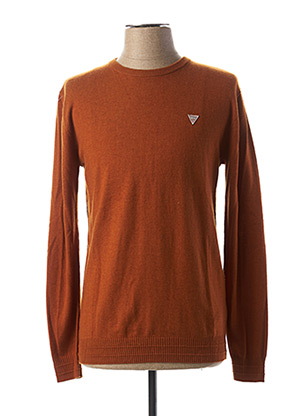 Pull col rond orange GUESS pour homme