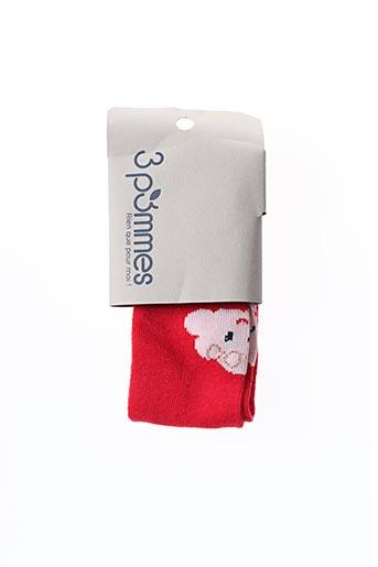 Collants rouge 3 POMMES pour fille
