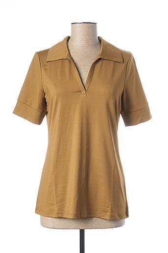 Polo manches longues marron BEST CONNECTIONS pour femme