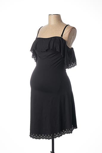Robe mi-longue noir CACHE COEUR pour femme