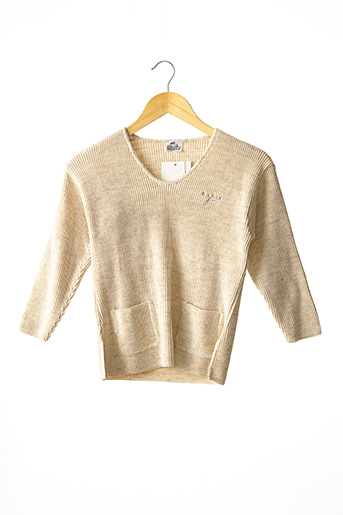 Pull col V beige COUDEMAIL pour fille