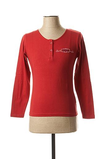 T-shirt manches longues rouge COMPTOIR DU RUGBY pour femme
