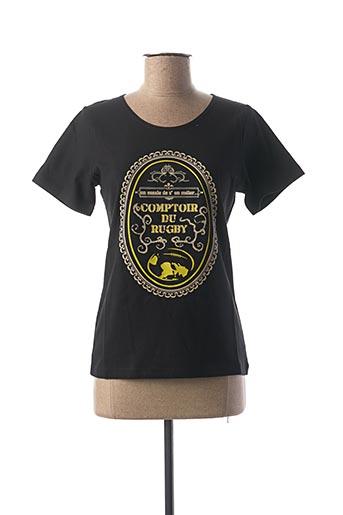 T-shirt manches courtes noir COMPTOIR DU RUGBY pour femme