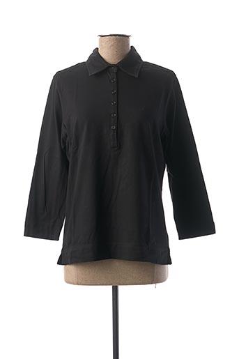 Polo manches longues noir CLOUD'S pour femme