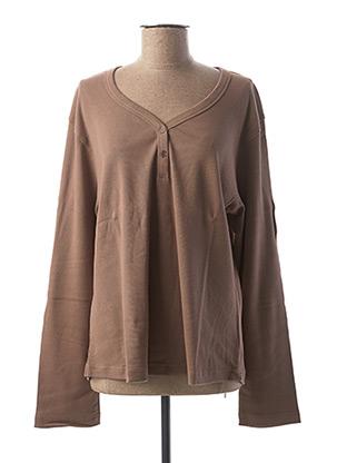 T-shirt manches longues marron CLOUD'S pour femme